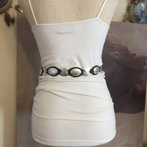 Tony Lama Silver concho Black leather western belt